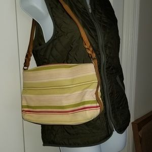 VTG Striped Fossil Purse In Green, Cream and Hot P
